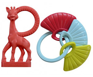 Vanilla Teething Ring & Shell Key Rattle Set