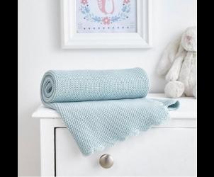 Crochet Edge Knitted Blanket