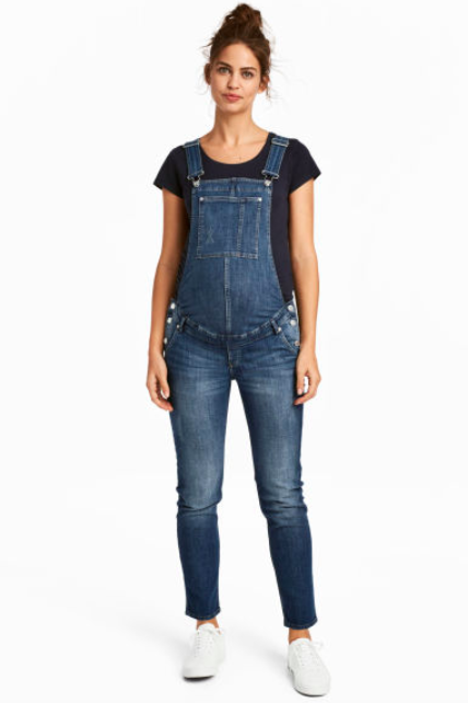 on feet shots of presenting beauty H&M MAMA Denim dungarees - Reviews