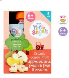 Asda Little Angels Organic Yummy Fruit Apple Banana Peach
