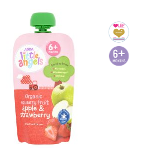 Asda Little Angels Organic Squeezy Fruit Pouch Apple