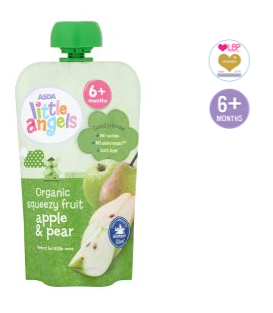 Asda Little Angels Organic Squeezy Fruit Apple Pear Pouch