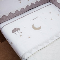 Cot Bed Quilt Moon and Back