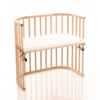 Convertible Varnished Bedside Cot with Mattress